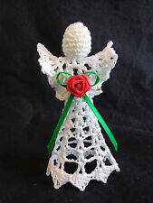 """Angel Christmas Ornament Figurine 4.5"""" White Starched Crochet Doily Red Rose"""