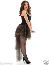 Ladies Snow Leopard Long Tail Back Waterfall Tutu Layer Frill Skirt Moulin Rouge
