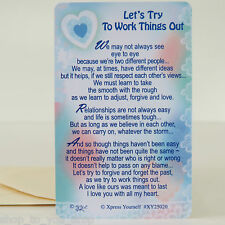 Wallet Card Purse Keepsake Let's Try To Work Things Out Love Valentines Gift Her
