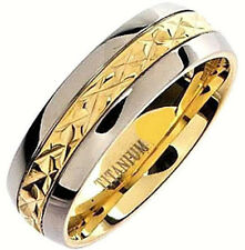 Plain TITANIUM BAND RING with Gold Plated Accent, size 12