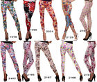Leggings Blumen SEXY Flower Damen Hose Jeans Jeggings-Optik Leggins Print Tattoo