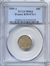 Ier EMPIRE NAPOLEON (1804-1814) 10 CENT 1808 A PARIS PCGS MS64
