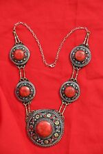 100% Authentic Ethnic Vintage Antique Coral Turkman Gift Handcrafted Necklace