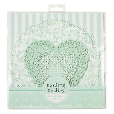 Mint Green & White Lace Round & Heart Paper Doilies, Pack of 30 - Wedding Party