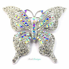 Silver & AB Rainbow Crystal Diamante Large Butterfly Wedding Party Broach Brooch
