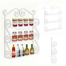 White Wall-Mountable Metal Scroll Spice Rack Bottle Display Holder 3/Three Tier