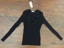 Women's Black Long Sleeve Sweater By Good Breast - Size Small - NWT