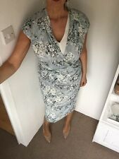 M&S Per Una Grey/blue Hydrangea Floral Print Slinky Faux Wrap Midi Dress Size 14