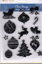 New MULTI CRAFT RUBBER STAMP clear cling HOLIDAY ICONS CHRISTMAS FREE US SHIP