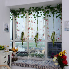 Fashion Embroidered Strawberry Tulle Window Screen Balcony Curtain Sheer