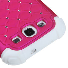 Samsung Galaxy SIII S3 - HARD & SOFT RUBBER HEAVY DUTY HYBRID CASE PINK DIAMOND