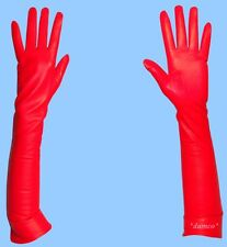 NEW size 7.5 SILK LINED EXTRA LONG RED GENUINE LAMBSKIN LEATHER GLOVES