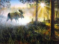 "A Walk in the Mist Moose Print By Jim Hansel  Image Size 16"" x 12"""