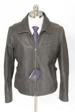 Mens KAPRAUN Dark Brown Distressed Leather Coat Full Zip Jacket 50 40 M NWT