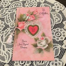 Vintage Greeting Card Valentine Mother Heart Roses Flowers