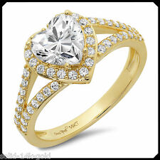 Mary 1.70CT HEART cut Diamond VVS1 Solid 14K Yellow GOLD Engagement Wedding Ring