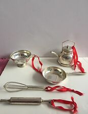 Rare William Sonoma Silver Plate (?) Christmas Ornaments Lot of 6 Kitchen Tools