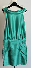 MOSCHINO Pure Silk Sleeveless Green Off Shoulder Pintuck Skirt Dress Size Uk 6