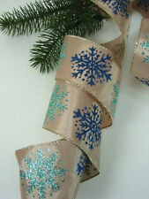 "Blue Aqua Sparkle Snowflake 2 1/2 "" Wire Edge Ribbon Christmas 10 Yards"