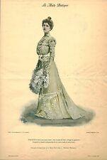 """Publicité Ancienne """" La Mode Pratique  Toilette de Diner Crêpe de  No 48  - 1900"""