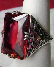 Big 30ct *Red Ruby* Solid Sterling Silver Vintage Revival Filigree Ring Size 11