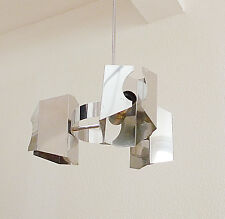 lustre suspension metal chromé alu design 70 style max sauce ceiling lamp 1970