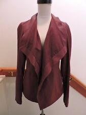 NWT $995 VINCE RED SCARLET BURGUNDY LEATHER DRAPE NECK JACKET XS (0 2)