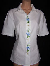 VINTAGE WALLMAN EMBROIDERED ROSES EDELWEISS PURE COTTON BLOUSE IMMACULATE 12/14