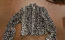 Alice and Olivia Zebra Print Faux Fur Coat Jacket Size Medium Black White