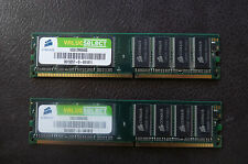 2 barrettes memoire Corsair Value Select 512 Mo DDR 400 MHz CL 2.5, VS512MB400
