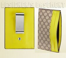 GUCCI beige GG SUPREME Canvas YELLOW leather MONEY CLIP card Case NIB Authentic!