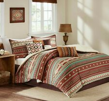 Southwest Aztec Comforter Set Queen 7PC Brown Bedding Cabin Lodge Native Style