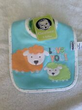NWT Gerber baby boy girl neutral infant bibs 3 pack waterproof love you sheep