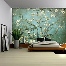 """Aqua with Teal Vignette """"Almond Blossom"""" by Vincent Van Gogh-Wall Mural- 100x144"""