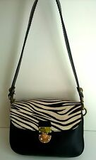 CHARLES JOURDAN Black Leather ZEBRA Print Hair Shoulder Bag Purse