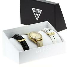Guess Women's Gold Tone Dial w/ Crystal Accent Leather Strap Watch Set - W0201L3