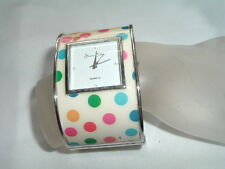 JESSICA CARLYLE BANGLE BRACELET QUARTZ WATCH POLKA DOT ENAMEL