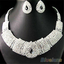 Wedding Prom Party Bridal Black Diamante Crystal Necklace Earrings Set  Fine