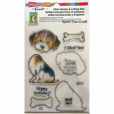 Stampendous ~ Puppy ~ Dog, Bone, Woof, Ruff ~ Clear Stamps & Cutting Dies ~ NIP