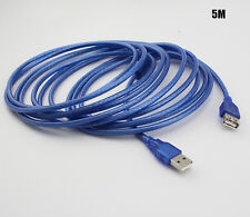 Blue 5M USB 2.0 Male to Female Extend Extention Cable NEW WKUS