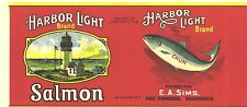 EARLY PORT TOWNSEND CHUM SALMON LABEL SHOWING LIGHTHOUSE - HARBOR LIGHT BRAND
