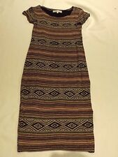 CAMEO ROSE L NEW LOOK PURPLE BLACK BEIGE STRIPED AZTEC PRINT MIDI TUNIC DRESS