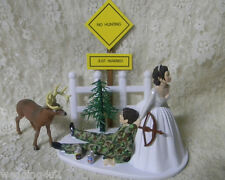 Wedding Cake Topper ~Bow & Arrow Hunter~  Drunk Groom No Hunting Sign Beer Cans