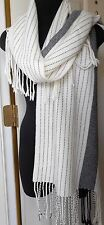 GAP Cream/ Black Wool Blend One Size with Fringe Striped  Scarf