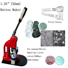 "1-1/4"" 32mm Button Maker Machine Badge Press+1000 Buttons +Circle Cutter DIY"