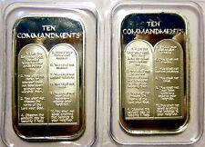 2 X 1oz TEN 10 COMMANDMENTS .999 PURE SILVER BARS ~ UNC & SEALED IN VINYL !