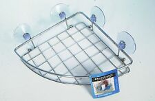 CORNER CHROME SILVER SHOWER RACK BATHROOM BATH CADDY SHELF SUCTION EASY FITTING