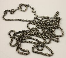 Antique Victorian circa 1890 white metal long heavy curb chain necklace