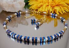 2er Set Collier u. Ohrringe Hämatit blau u. gold  Strass Glasperlen weiss