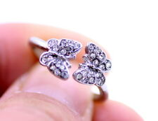 Super cute silver and clear coloured two butterfly ring